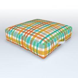 Colorful hand drawn tartan plaid gingham pattern. Outdoor Floor Cushion
