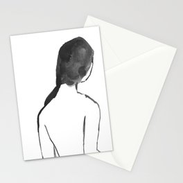 Pause: black and white study in ink and watercolor Stationery Cards