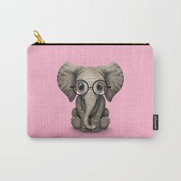 Cute Baby Elephant Calf with Reading Glasses on Pink Carry-All Pouch