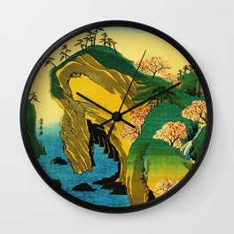 Cherry Blossom Trees on Japan Cliff Wall Clock