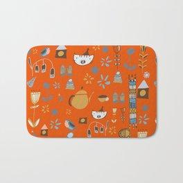 hygge cat and bird orange Bath Mat