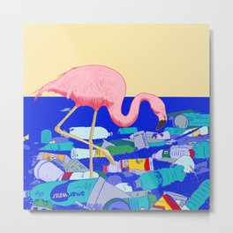 A Flamingo Searches for Dinner Metal Print