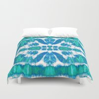 tie dye Duvet Covers featuring Tie-Dye Twos Aqua by Nina May Designs