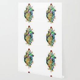 Flowers colorful heart watercolor Wallpaper