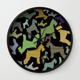 schnauzer pattern *black* Wall Clock