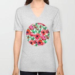 Plenty of Poppies - white Unisex V-Neck