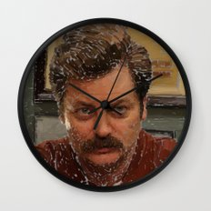 Ron Swanson, Nick Offerman, Parks and recreation Wall Clock