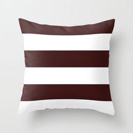 Wide Horizontal Stripes - White and Dark Sienna Brown Throw Pillow