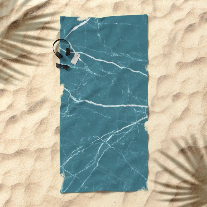 Blue marble abstract texture pattern Beach Towel