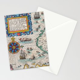 Vintage Nautical Map of the Northeast Passage,1601 Stationery Cards