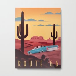Route 66 Travel Poster Metal Print
