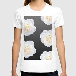 Cream Rose Polka Dot on Black T-shirt