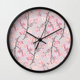 Cherry Blossom Pattern on Gray Wall Clock