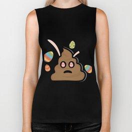 Poop Emoji Easter Bunny Ears Funny Biker Tank