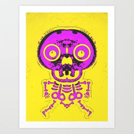 pink bone structure and skull with yellow background Art Print