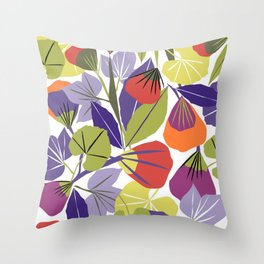 Purple and khaki spring floral illustration Throw Pillow