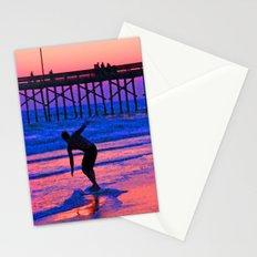 Neon Skimboarder Stationery Cards