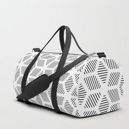 Geometric Line Lines Diamond Shape Tribal Ethnic Pattern Simple Simplistic Minimal Black and White Duffle Bag