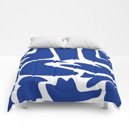 Blue shapes on white background Comforters