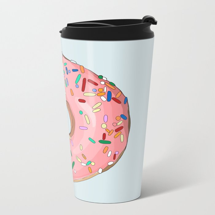 Strawberry Frost Donut Travel Mug