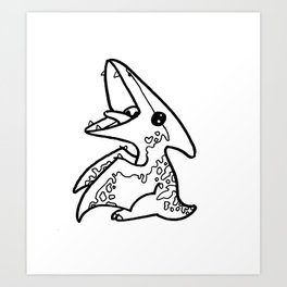 Pterodactyl Sketch Art Print