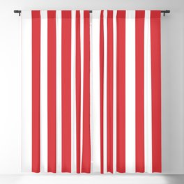 Poppy Red Simple Basic Striped Pattern Blackout Curtain