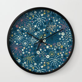 There are fireworks everywhere (blue) Wall Clock