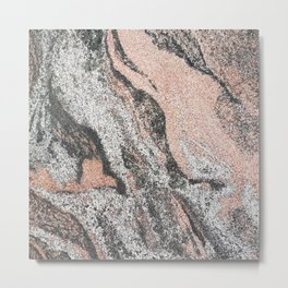 Pastel coral gray white abstract vintage marble Metal Print