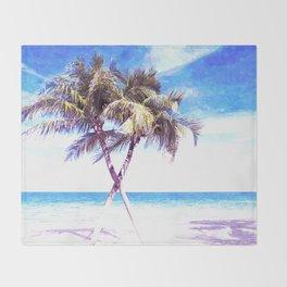 Palm Tree Beach Throw Blanket