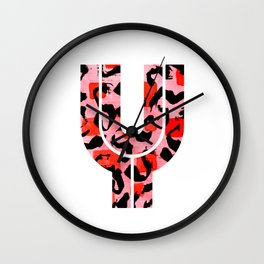 Letter Y Watercolour Leopard Print Alphabet Red Wall Clock