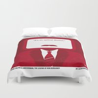 anchorman Duvet Covers featuring No278 My Anchorman Ron Burgundy minimal movie poster by Chungkong