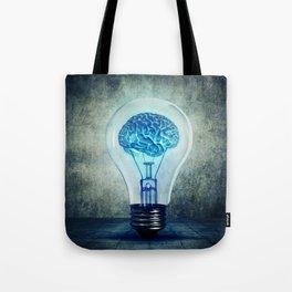 lightbulb brain shining Tote Bag