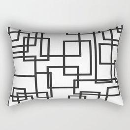 Black and White Cubical Line Art Rectangular Pillow