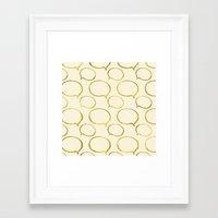 gold foil Framed Art Prints featuring Cream Gold Foil 01 by Aloke Design