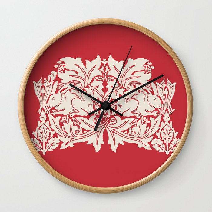 William Morris Style Victorian Christmas Bunnies Wall Clock
