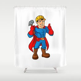 Superhero handyman guy. Shower Curtain