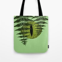 jurassic park Tote Bags featuring Jurassic Park Minimalist by Kozicki Photography