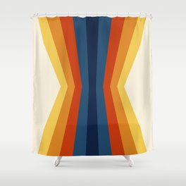 Bright 70's Retro Stripes Reflection Shower Curtain