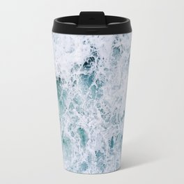 Waves in an abstract white and blue seascape Travel Mug