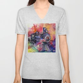 American Train by Kathy Morton Stanion Unisex V-Neck