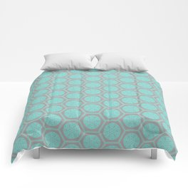 Hexagonal Dreams - Grey & Turquoise Comforters