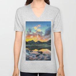 Sunset Landscape #river Unisex V-Neck