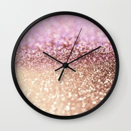 Mermaid Rose Gold Blush Glitter Wall Clock