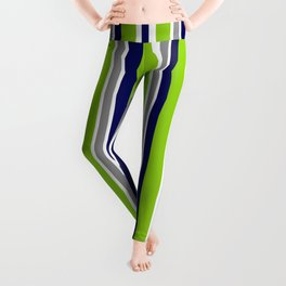 Lime Green Bright Navy Blue Gray and White Vertical Stripes Pattern Leggings
