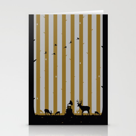 Gold Deer Song Stationery Cards