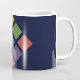 Classic Colorful Abstract Minimal Retro 70s Style Squares Rubik Cube Coffee Mug