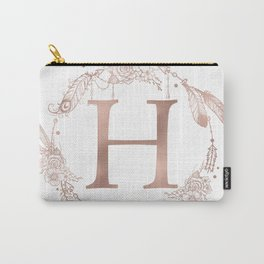 Letter H Rose Gold Pink Initial Monogram Carry-All Pouch