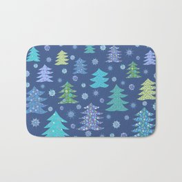 Winter Christmas Trees and Snowflakes in Purple, Blue and Green Bath Mat