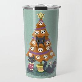 Meowy christmas sugar skulls Travel Mug