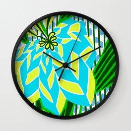 BAYAMO: BLUE GREEN DREAM, Art Deco Tropical Wall Clock